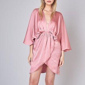 NWT Do + Be Pink Satin Kimono Dress